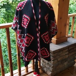 Black red and white poncho